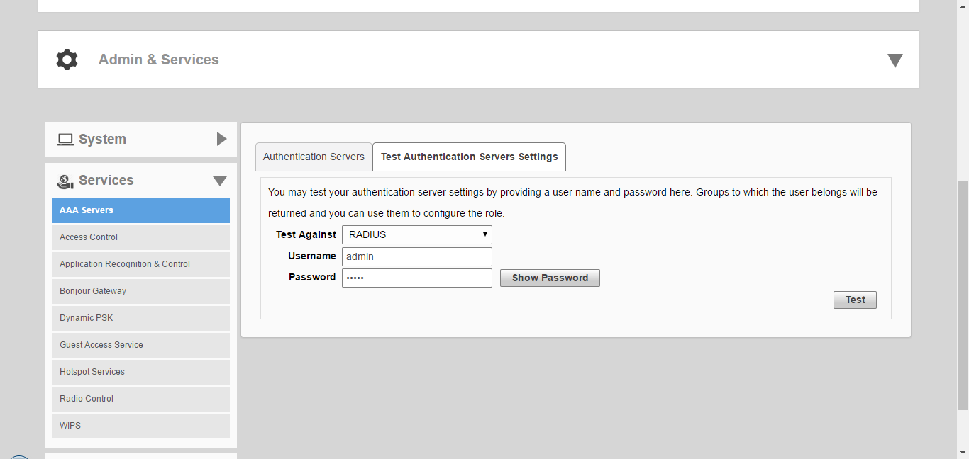 Testing Authentication Settings